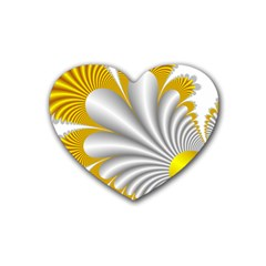 Fractal Gold Palm Tree  Heart Coaster (4 Pack)