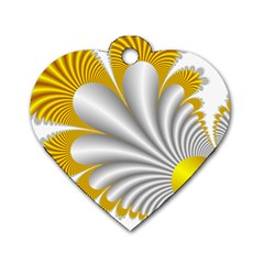 Fractal Gold Palm Tree  Dog Tag Heart (one Side)