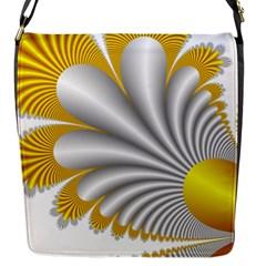Fractal Gold Palm Tree  Flap Messenger Bag (s)