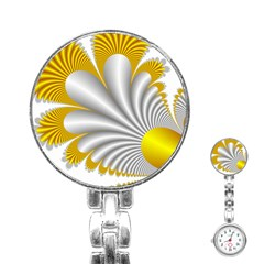 Fractal Gold Palm Tree  Stainless Steel Nurses Watch