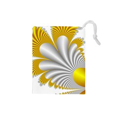 Fractal Gold Palm Tree  Drawstring Pouches (Small)