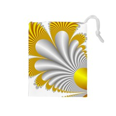 Fractal Gold Palm Tree  Drawstring Pouches (medium)
