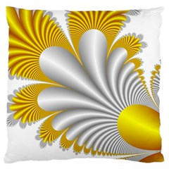 Fractal Gold Palm Tree  Large Flano Cushion Case (one Side)