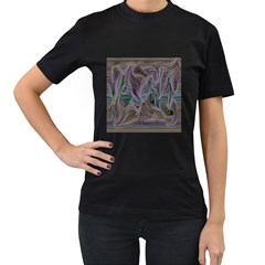 Abstract Background Chromatic Women s T Shirt (black) (two Sided)