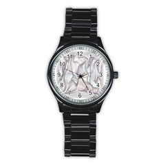 Abstract Background Chromatic Stainless Steel Round Watch