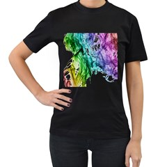 Colour Smoke Rainbow Color Design Women s T Shirt (black)
