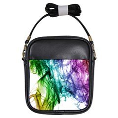 Colour Smoke Rainbow Color Design Girls Sling Bags