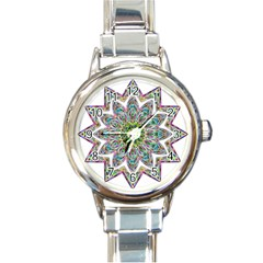 Decorative Ornamental Design Round Italian Charm Watch