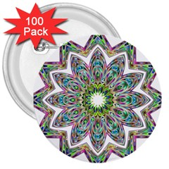 Decorative Ornamental Design 3  Buttons (100 Pack)
