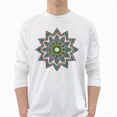 Decorative Ornamental Design White Long Sleeve T Shirts