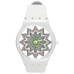 Decorative Ornamental Design Round Plastic Sport Watch (m)