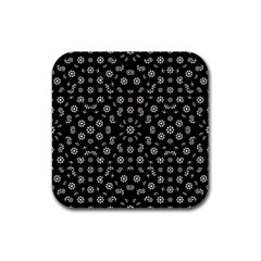 Dark Ditsy Floral Pattern Rubber Coaster (Square)