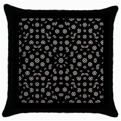 Dark Ditsy Floral Pattern Throw Pillow Case (Black)