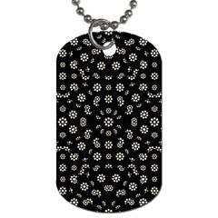 Dark Ditsy Floral Pattern Dog Tag (Two Sides)