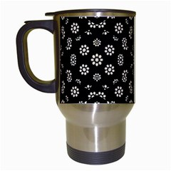 Dark Ditsy Floral Pattern Travel Mugs (White)