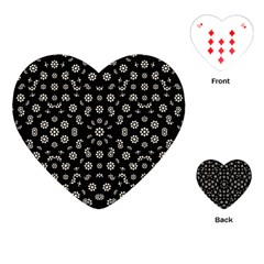 Dark Ditsy Floral Pattern Playing Cards (Heart)