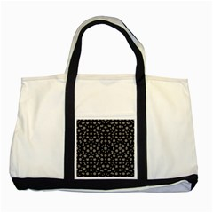 Dark Ditsy Floral Pattern Two Tone Tote Bag