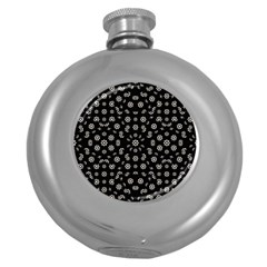 Dark Ditsy Floral Pattern Round Hip Flask (5 oz)