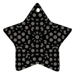 Dark Ditsy Floral Pattern Star Ornament (Two Sides)