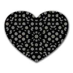 Dark Ditsy Floral Pattern Heart Mousepads