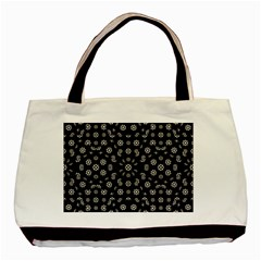 Dark Ditsy Floral Pattern Basic Tote Bag (Two Sides)