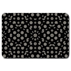 Dark Ditsy Floral Pattern Large Doormat