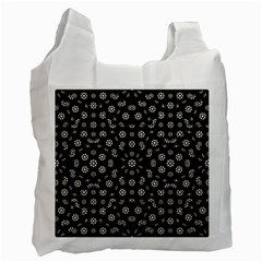 Dark Ditsy Floral Pattern Recycle Bag (Two Side)