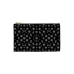 Dark Ditsy Floral Pattern Cosmetic Bag (Small)