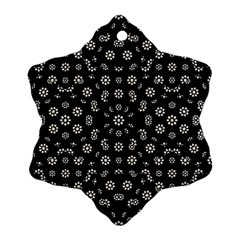 Dark Ditsy Floral Pattern Snowflake Ornament (Two Sides)