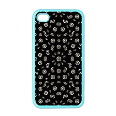 Dark Ditsy Floral Pattern Apple iPhone 4 Case (Color)
