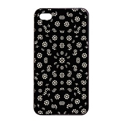 Dark Ditsy Floral Pattern Apple iPhone 4/4s Seamless Case (Black)