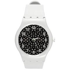 Dark Ditsy Floral Pattern Round Plastic Sport Watch (M)