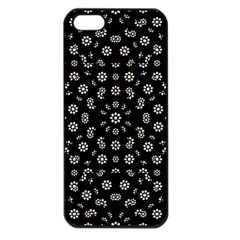 Dark Ditsy Floral Pattern Apple iPhone 5 Seamless Case (Black)