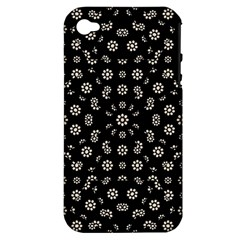 Dark Ditsy Floral Pattern Apple iPhone 4/4S Hardshell Case (PC+Silicone)