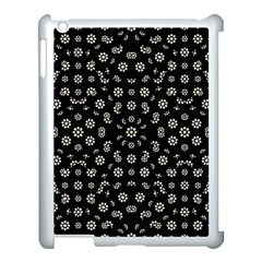 Dark Ditsy Floral Pattern Apple iPad 3/4 Case (White)