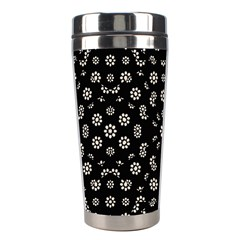 Dark Ditsy Floral Pattern Stainless Steel Travel Tumblers