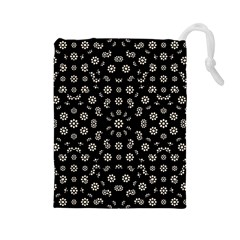 Dark Ditsy Floral Pattern Drawstring Pouches (Large)