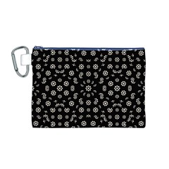 Dark Ditsy Floral Pattern Canvas Cosmetic Bag (M)