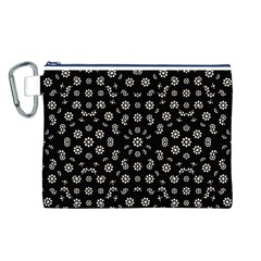 Dark Ditsy Floral Pattern Canvas Cosmetic Bag (L)