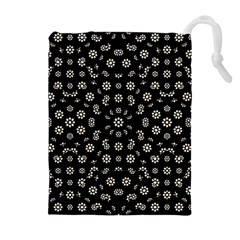 Dark Ditsy Floral Pattern Drawstring Pouches (Extra Large)