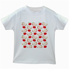 Apple pattern Kids White T-Shirts