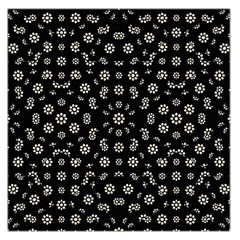 Dark Ditsy Floral Pattern Large Satin Scarf (square)