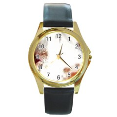 Spotted pattern Round Gold Metal Watch
