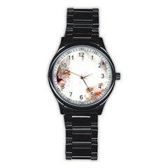 Spotted pattern Stainless Steel Round Watch
