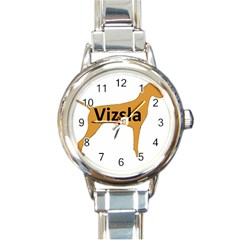 Vizsla Name Silo Color Round Italian Charm Watch