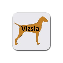 Vizsla Name Silo Color Rubber Coaster (Square)