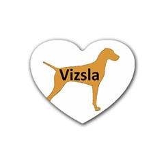 Vizsla Name Silo Color Rubber Coaster (Heart)