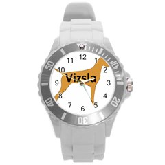 Vizsla Name Silo Color Round Plastic Sport Watch (L)