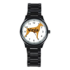 Vizsla Name Silo Color Stainless Steel Round Watch