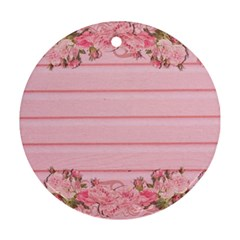 Pink Peony Outline Romantic Ornament (round)